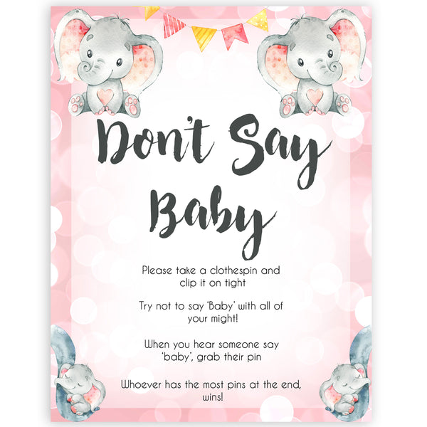 pink elephant baby games, dont say baby baby shower games, printable baby shower games, baby shower games, fun baby games, popular baby games, pink baby games