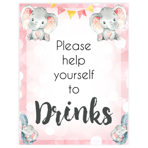 drinks baby signs, drinks baby table sign, Pink elephant baby decor, printable baby table signs, printable baby decor, pink table signs, fun baby signs, fun baby table signs