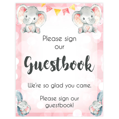guestbook table sign, baby guestbook table sign, Pink elephant baby decor, printable baby table signs, printable baby decor, pink table signs, fun baby signs, fun baby table signs