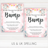 pink elephant baby games, message from the bump baby shower games, printable baby shower games, baby shower games, fun baby games, popular baby games, pink baby games
