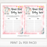 pink elephant baby games, name that baby tune baby shower games, printable baby shower games, baby shower games, fun baby games, popular baby games, pink baby games