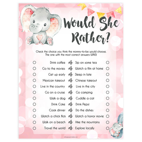 would she rather baby game, would she rather, Printable baby shower games, fun abby games, baby shower games, fun baby shower ideas, top baby shower ideas, pink elephant baby shower, pink baby shower ideas