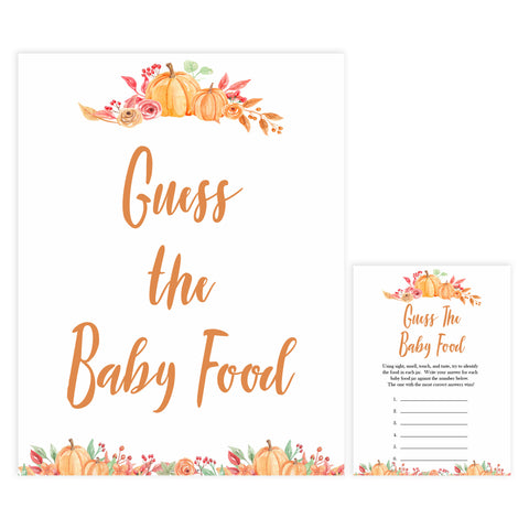 Fall pumpkin baby games, guess the baby food, printable baby games, fall baby shower, pumpkin baby shower, autumnal baby games, top 10 baby games, best baby games