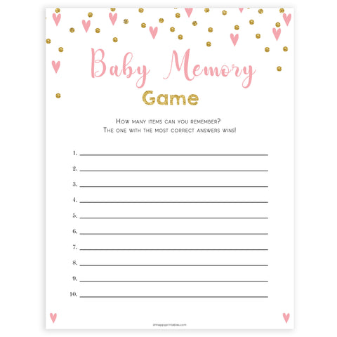 pink hearts baby shower, baby memory baby game, printable baby games, pink baby games, girl baby games, top 10 baby games, fun baby games