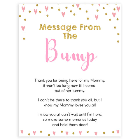 pink hearts baby shower, message from the bump baby game, printable baby games, pink baby games, girl baby games, top 10 baby games, fun baby games
