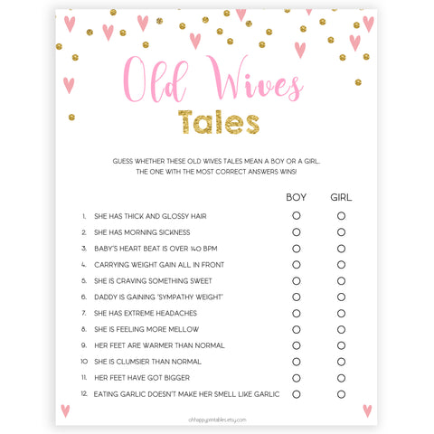 pink hearts baby shower, old wives tales baby game, printable baby games, pink baby games, girl baby games, top 10 baby games, fun baby games