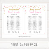 Small pink hearts baby game, baby shower word search game, fun baby games, top baby games, printable baby games, girl baby games, pink baby shower, 10 best baby games