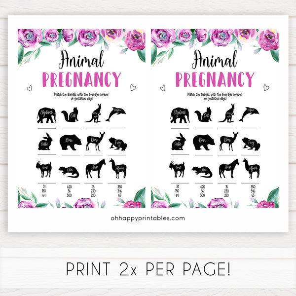 Purple peonies animal pregnancy baby shower games, printable baby shower games, fun baby shower games, baby shower games, popular baby shower games, floral baby shower games, purple baby shower themes