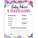 Purple peonies baby advice and predictions baby shower games, printable baby shower games, fun baby shower games, baby shower games, popular baby shower games, floral baby shower games, purple baby shower themes