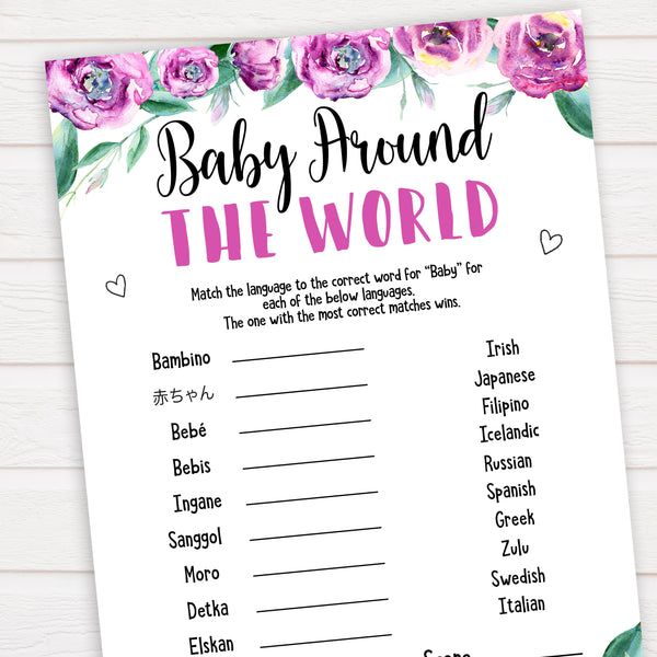 Purple peonies baby around the world baby shower games, printable baby shower games, fun baby shower games, baby shower games, popular baby shower games, floral baby shower games, purple baby shower themes