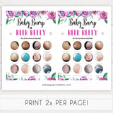 Purple peonies baby bump or beer belly baby shower games, printable baby shower games, fun baby shower games, baby shower games, popular baby shower games, floral baby shower games, purple baby shower themes
