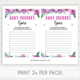 Purple peonies baby memory game baby shower games, printable baby shower games, fun baby shower games, baby shower games, popular baby shower games, floral baby shower games, purple baby shower themes