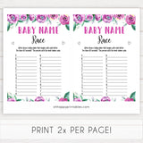 Purple peonies baby name race game baby shower games, printable baby shower games, fun baby shower games, baby shower games, popular baby shower games, floral baby shower games, purple baby shower themes