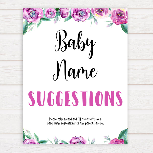 Purple peonies baby name suggestions baby shower games, printable baby shower games, fun baby shower games, baby shower games, popular baby shower games, floral baby shower games, purple baby shower themes