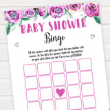 Purple peonies baby shower bingo baby shower games, printable baby shower games, fun baby shower games, baby shower games, popular baby shower games, floral baby shower games, purple baby shower themes