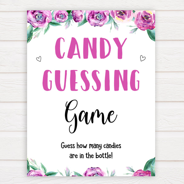 Purple peonies candy guessing game baby shower games, printable baby shower games, fun baby shower games, baby shower games, popular baby shower games, floral baby shower games, purple baby shower themes