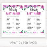 Purple peonies celebrity baby names baby shower games, printable baby shower games, fun baby shower games, baby shower games, popular baby shower games, floral baby shower games, purple baby shower themes