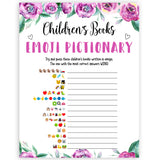 Purple peonies childrens books emoji pictionary baby shower games, printable baby shower games, fun baby shower games, baby shower games, popular baby shower games, floral baby shower games, purple baby shower themes