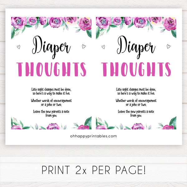 Purple peonies diaper thoughts baby shower games, printable baby shower games, fun baby shower games, baby shower games, popular baby shower games, floral baby shower games, purple baby shower themes