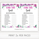 Purple peonies find the guest baby shower games, printable baby shower games, fun baby shower games, baby shower games, popular baby shower games, floral baby shower games, purple baby shower themes