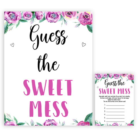 Purple peonies guess the sweet mess baby shower games, printable baby shower games, fun baby shower games, baby shower games, popular baby shower games, floral baby shower games, purple baby shower themes