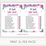 Purple peonies he said she said baby shower games, printable baby shower games, fun baby shower games, baby shower games, popular baby shower games, floral baby shower games, purple baby shower themes