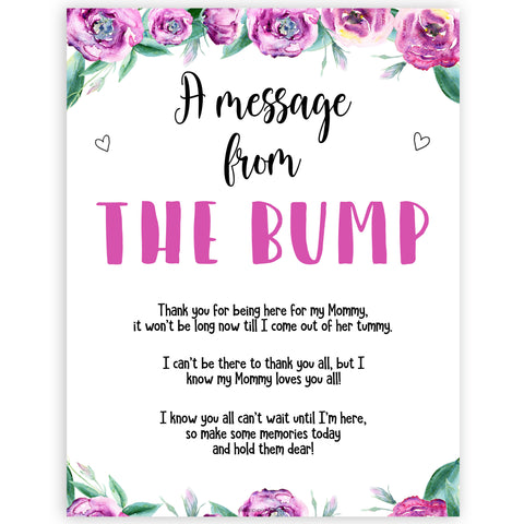 Purple peonies message from the bump baby shower games, printable baby shower games, fun baby shower games, baby shower games, popular baby shower games, floral baby shower games, purple baby shower themes