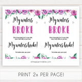Purple peonies my waters broke baby shower games, printable baby shower games, fun baby shower games, baby shower games, popular baby shower games, floral baby shower games, purple baby shower themes