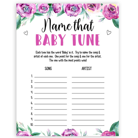 Purple peonies name that baby tune baby shower games, printable baby shower games, fun baby shower games, baby shower games, popular baby shower games, floral baby shower games, purple baby shower themes
