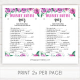 Purple peonies nursery rhyme quiz baby shower games, printable baby shower games, fun baby shower games, baby shower games, popular baby shower games, floral baby shower games, purple baby shower themes