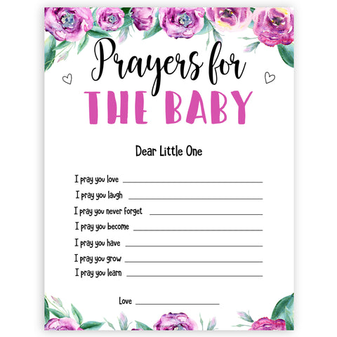 Purple peonies prayers for baby baby shower games, printable baby shower games, fun baby shower games, baby shower games, popular baby shower games, floral baby shower games, purple baby shower themes