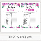 Purple peonies price is right baby shower games, printable baby shower games, fun baby shower games, baby shower games, popular baby shower games, floral baby shower games, purple baby shower themes