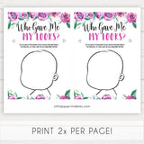 Purple peonies who gave me my looks baby shower games, printable baby shower games, fun baby shower games, baby shower games, popular baby shower games, floral baby shower games, purple baby shower themes