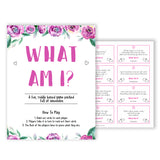 Purple peonies what am I baby shower games, printable baby shower games, fun baby shower games, baby shower games, popular baby shower games, floral baby shower games, purple baby shower themes