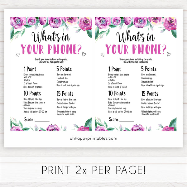 Purple peonies whats in your phone baby shower games, printable baby shower games, fun baby shower games, baby shower games, popular baby shower games, floral baby shower games, purple baby shower themes