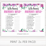 Purple peonies who knows mommy best baby shower games, printable baby shower games, fun baby shower games, baby shower games, popular baby shower games, floral baby shower games, purple baby shower themes