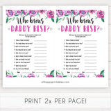Purple peonies who knows daddy best baby shower games, printable baby shower games, fun baby shower games, baby shower games, popular baby shower games, floral baby shower games, purple baby shower themes