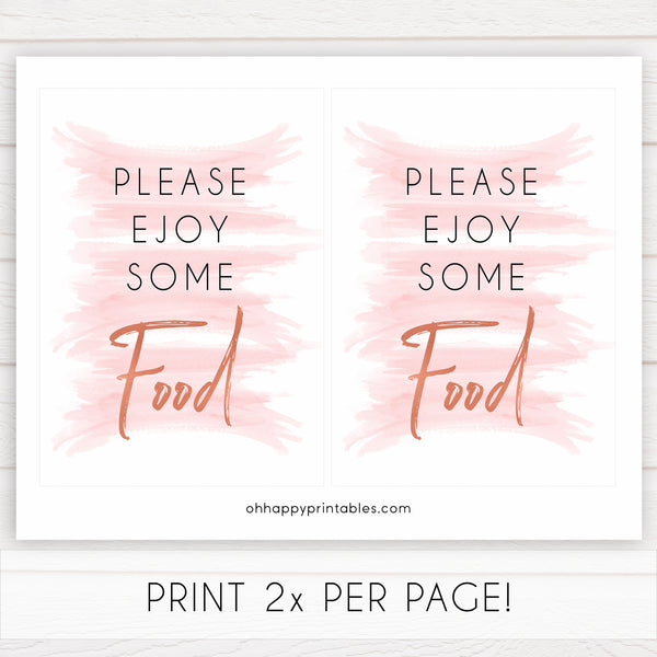 pink swash food sign, pink baby signs, food baby sign, food baby shower, printable baby decor, pink watercolour swash, pink baby shower