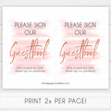 pink guestbook baby sign, guestbook baby signs, printable baby signs, pink baby decor, pink baby shower ideas