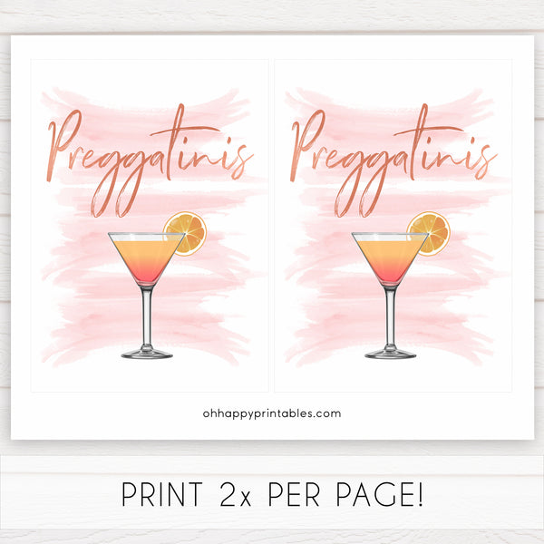 preggatinis baby signs, printable baby signs, pink baby signs, pink baby shower decor, pink baby decor