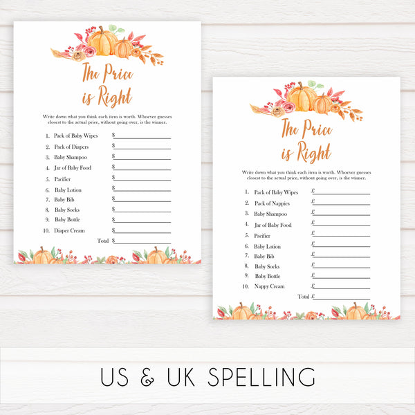 Fall pumpkin baby games, price is right, printable baby games, fall baby shower, pumpkin baby shower, autumnal baby games, top 10 baby games, best baby games