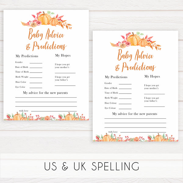 Fall pumpkin baby games, baby advice and predictions, printable baby games, fall baby shower, pumpkin baby shower, autumnal baby games, top 10 baby games, best baby games