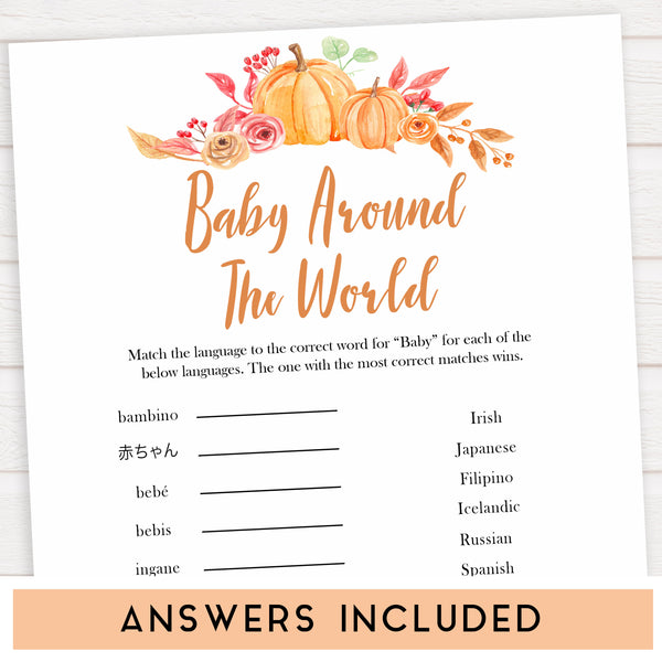 Fall pumpkin baby games, baby around the world, printable baby games, fall baby shower, pumpkin baby shower, autumnal baby games, top 10 baby games, best baby games