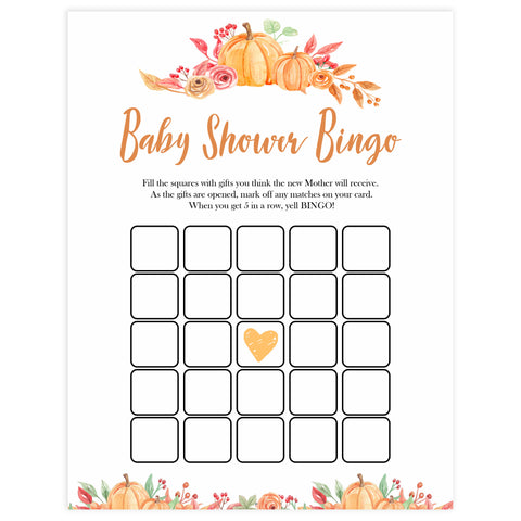 Fall pumpkin baby games, baby shower bingo, baby bingo, printable baby games, fall baby shower, pumpkin baby shower, autumnal baby games, top 10 baby games, best baby games