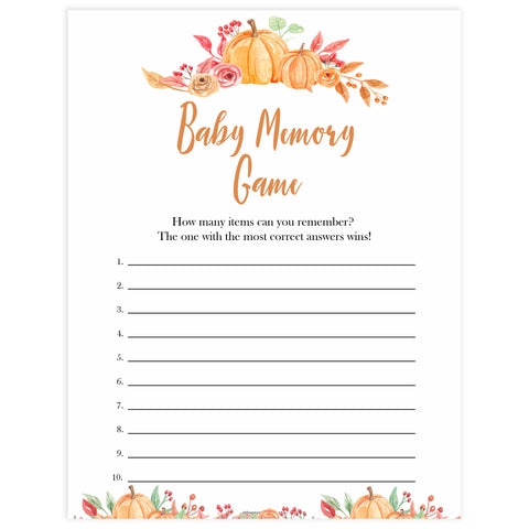 Fall pumpkin baby games, baby memory game, printable baby games, fall baby shower, pumpkin baby shower, autumnal baby games, top 10 baby games, best baby games