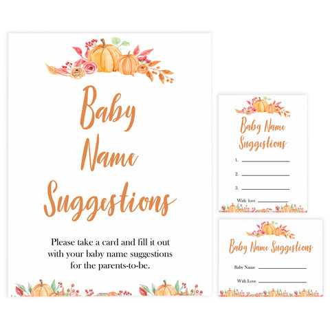 Fall pumpkin baby games, baby name suggestions, printable baby games, fall baby shower, pumpkin baby shower, autumnal baby games, top 10 baby games, best baby games