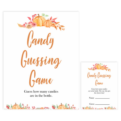 Fall pumpkin baby games, candy guessing game, printable baby games, fall baby shower, pumpkin baby shower, autumnal baby games, top 10 baby games, best baby games