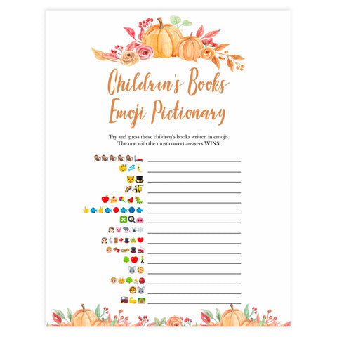 Fall pumpkin baby games, childrens books emoji pictionary, printable baby games, fall baby shower, pumpkin baby shower, autumnal baby games, top 10 baby games, best baby games