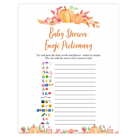 Fall pumpkin baby games, baby emoji pictionary, printable baby games, fall baby shower, pumpkin baby shower, autumnal baby games, top 10 baby games, best baby games