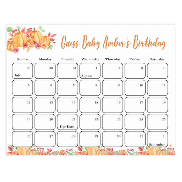 guess the baby birthday game, baby birthday predictions game, printable baby shower games, pumpkin baby games, fall baby shower ideas